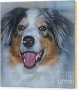 Portrait Of A Dog Lady Wood Print
