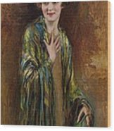 Portrait Of A Girl With A Green Shawl Wood Print