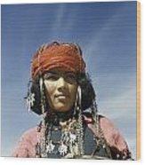 Portrait Of A Nomadic North African Wood Print by Maynard Owen Williams