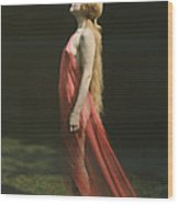 Portrait Of A Nude Woman Draped Wood Print