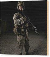 Portrait Of A U.s. Marine Wood Print