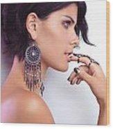 Portrait Of A Woman Wearing Jewellery Wood Print
