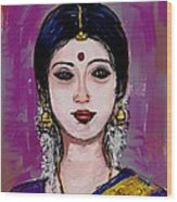 Portrait Of An Indian Woman Wood Print