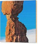 Portrait Of Balance Rock Wood Print