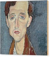 Portrait Of Franz Hellens Wood Print by Modigliani