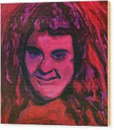 Portrait Of Jenny Friedman Who Never Gave Up. Figure Portrait In Pink Purple And Blue Downs Syndrome Wood Print by MendyZ M Zimmerman