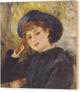 Portrait Of Mademoiselle Demarsy Wood Print by Pierre Auguste Renoir