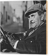 Portrait Of Man In Drivers Seat Of Car Wood Print by Everett