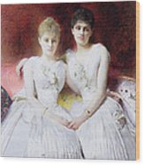 Portrait Of Marthe And Terese Galoppe Wood Print by Leon Joseph Bonnat