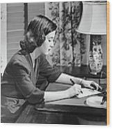 Portrait Of Woman Writing Letter At Desk Wood Print by George Marks