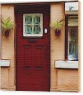 Portugal Red Door Wood Print