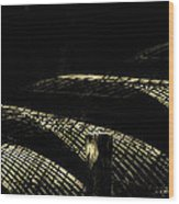 Posts And Waves Wood Print by John Monteath