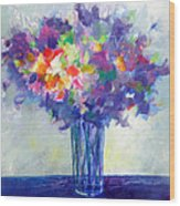 Posy In Lavender And Blue - Painting Of Flowers Wood Print