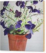Pot Of Flowers One Wood Print