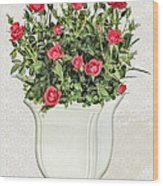 Pot Of Red Roses On Lace Background Wood Print