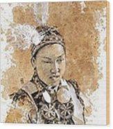 Pow Wow Girl Wood Print by Debra Jones