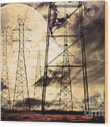 Power Grid Wood Print