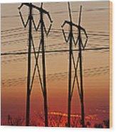 Power Towers At Sundown Wood Print