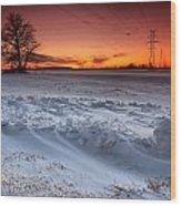 Powerlines In Winter Wood Print