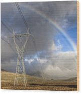Powerlines, Rainbow Forms As Evening Wood Print