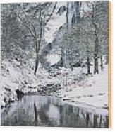Powerscourt Waterfall In Winter, County Wood Print