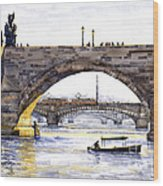 Prague Bridges Wood Print