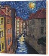 Prague By Moonlight Wood Print