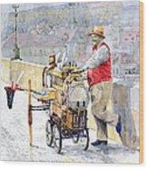 Prague Charles Bridge Organ Grinder-seller Happiness  Wood Print