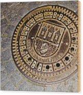Prague Manhole Cover Wood Print