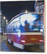 Prague Tram Wood Print