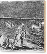 Prairie Fire, 1844 Wood Print