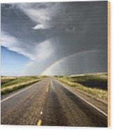 Prairie Hail Storm And Rainbow Wood Print