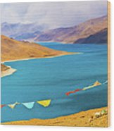 Prayer Flags By Yamdok Yumtso Lake, Tibet Wood Print