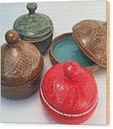 Prayer Pots Wood Print by Carolyn Coffey Wallace