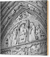 Prayers At Notre Dame - Black And White Wood Print