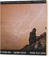 Praying Monk Camelback Mountain Lightning Monsoon Storm Image Tx Wood Print by James BO  Insogna