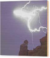 Praying Monk Lightning Halo Monsoon Thunderstorm Photography Wood Print