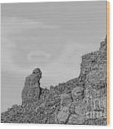 Praying Monk With Halo Camelback Mountain Bw Wood Print