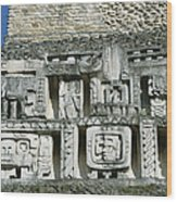 Pre-columbian Stone Ruin With Relief Wood Print
