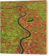 Pre-flood Missouri River Wood Print by Nasagoddard Space Flight Center