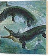 Pre-historic Crocodiles Eating A Fish Wood Print