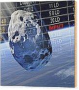 Predicting Asteroid Impact, Artwork Wood Print by Detlev Van Ravenswaay