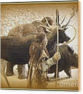 Prehistoric Man And Friends Wood Print