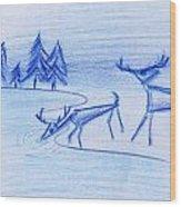 Prehistoric Scenic Wood Print