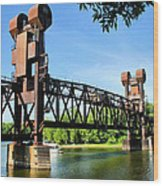 Prescott Lift Bridge Wood Print by Kristin Elmquist