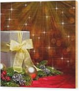 Present Sock Shape Short Bread Cookie In Christmas Tree Wood Print