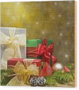 Presents Decorated With Christmas Decoration Wood Print