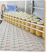 Preserve And Jam Bottling Production Line Wood Print