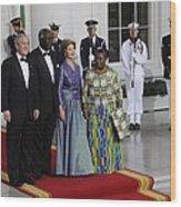 President And Laura Bush Welcome Ghanas Wood Print