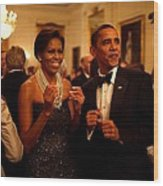 President And Michelle Obama Applaud Wood Print